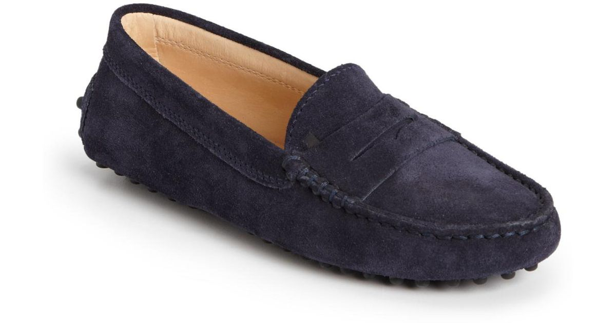 Tod's Kids Suede Driver Penny Loafers in Blue for Men | Lyst