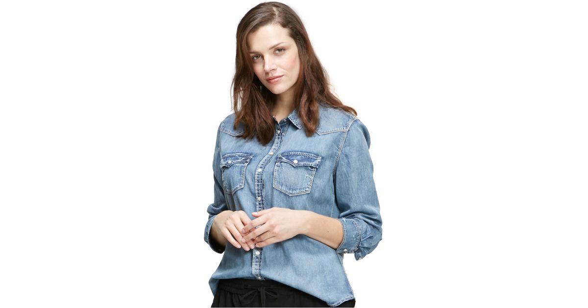 Violeta by mango plus size chambray shirt in blue lyst for Plus size chambray shirt