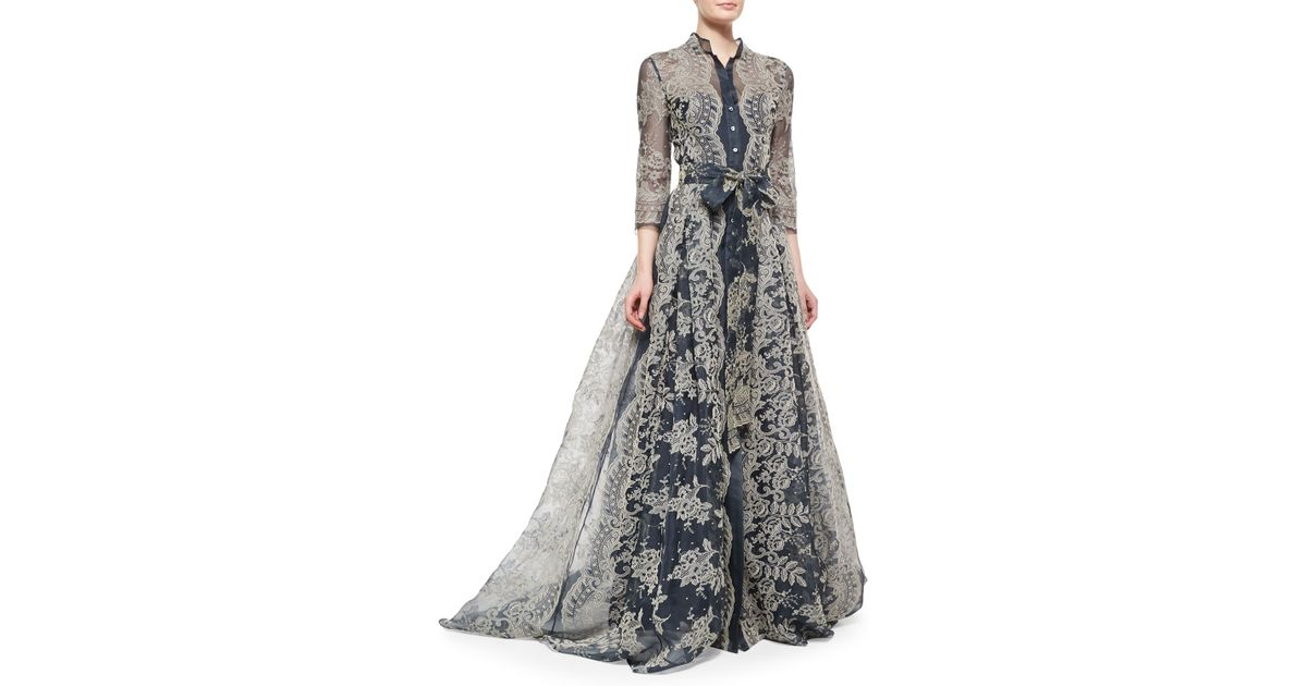 Lyst - Carolina Herrera Embroidered Lace Pleated Gown in Blue