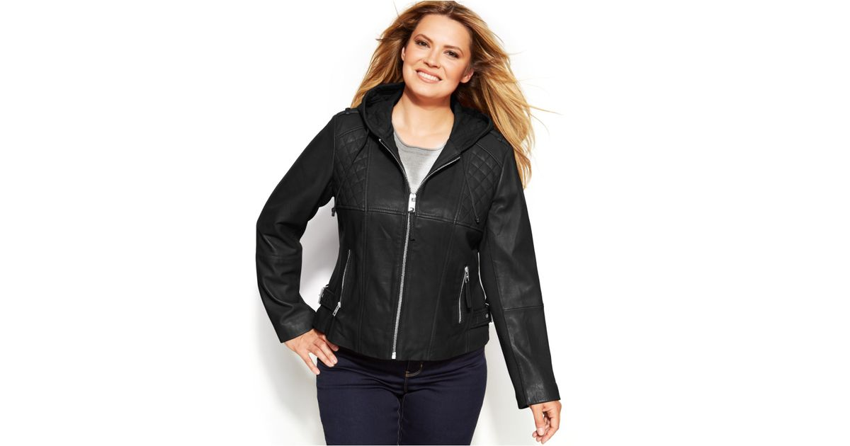 48a065ffb6a Lyst - Michael Kors Michael Plus Size Knit-Inset Hooded Leather Jacket in  Black