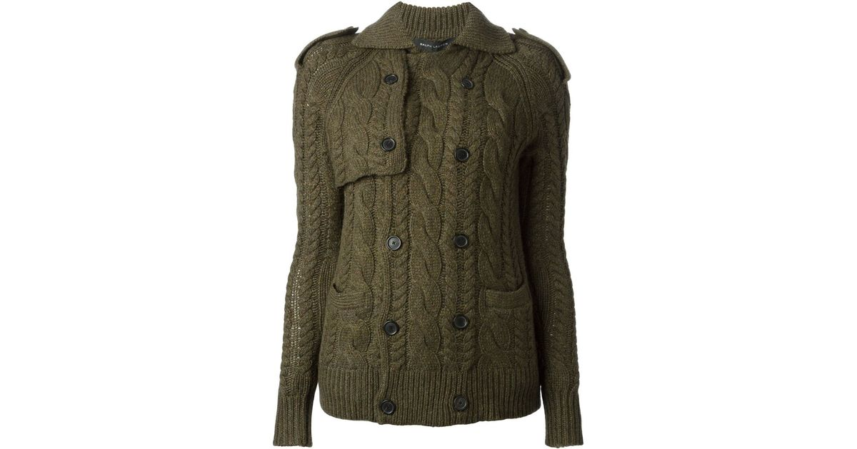 ce5bd5891 Lyst - Ralph Lauren Black Label Cable Knit Cardigan in Green