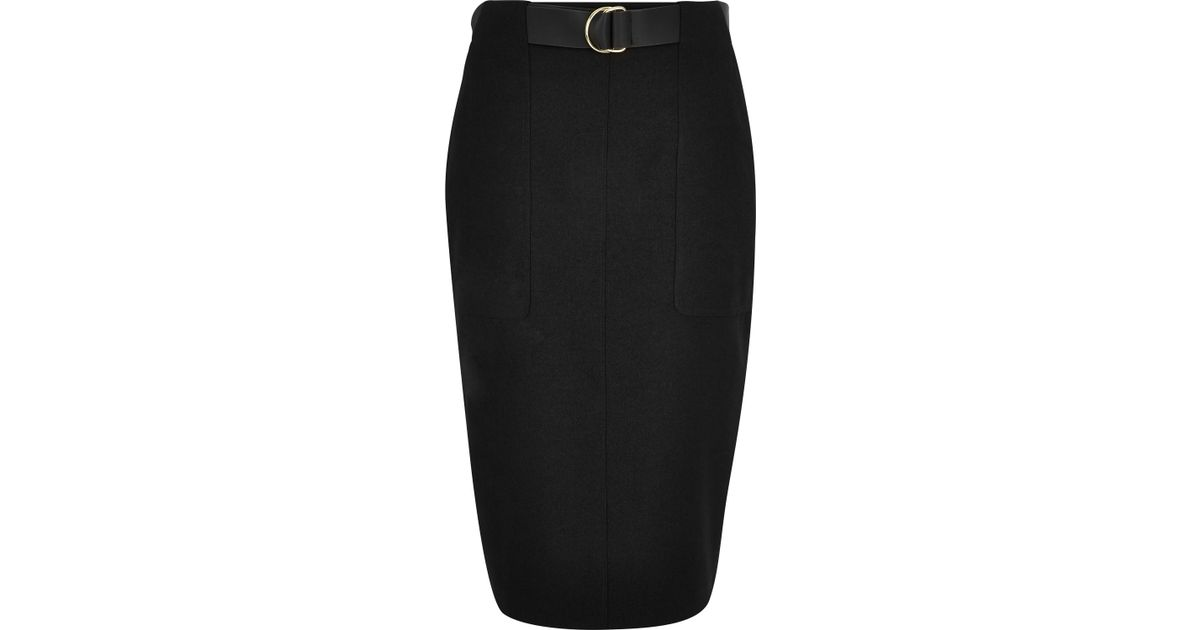 Lyst River Island Black Belted Pencil Skirt In Black