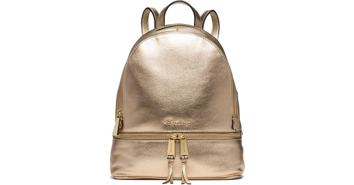 e9d1be02eb41 Michael Kors Rhea Medium Metallic-leather Backpack in Metallic - Lyst