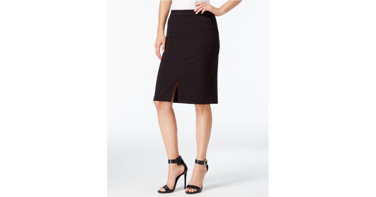kensie front slit pencil skirt in black lyst