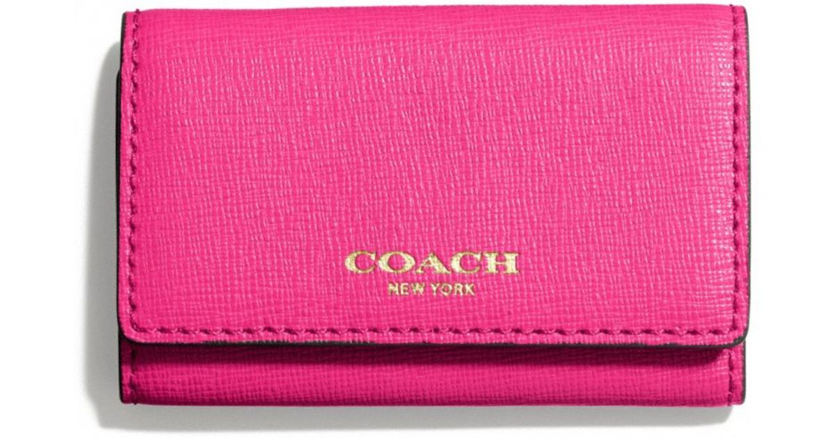 bb8bf42396 COACH Pink Six Ring Key Case in Saffiano Leather