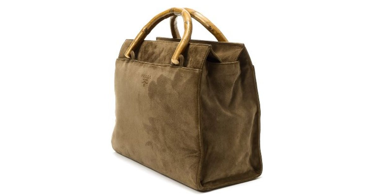 Prada Preowned Khaki Suede Bamboo Top Handle Tote Bag in Khaki | Lyst