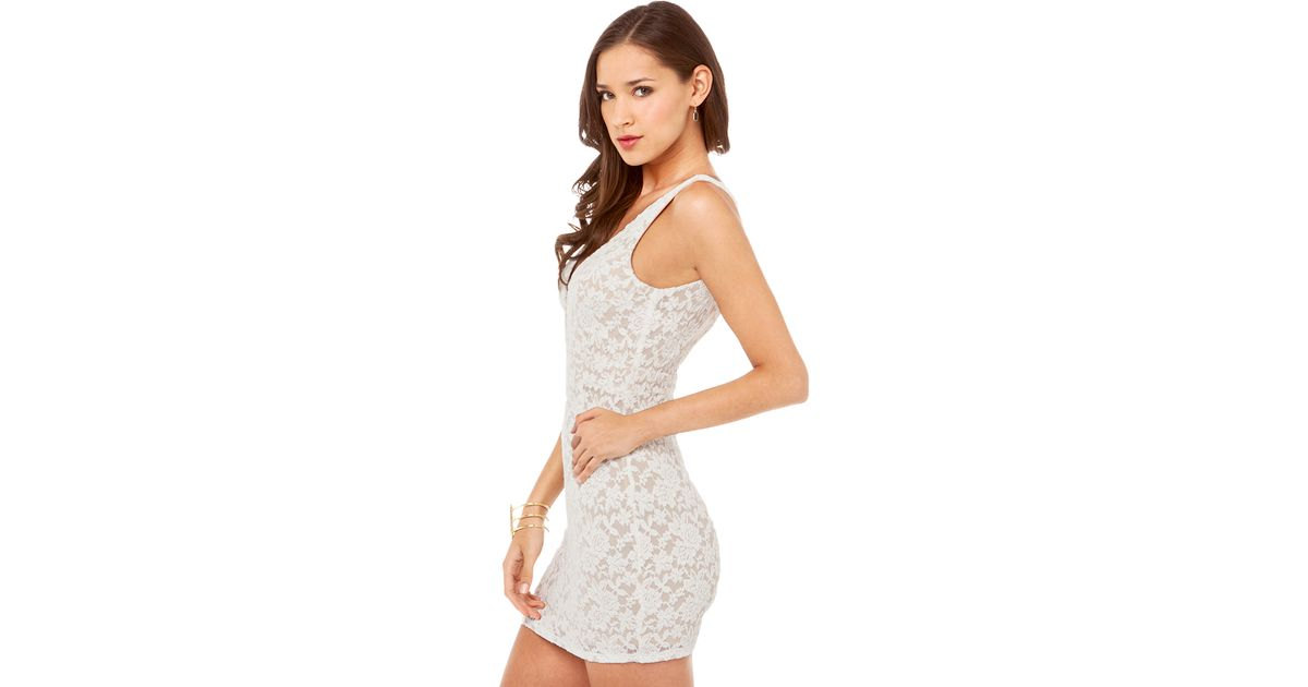 Lyst Akira Black Label Deep V Lace Overlay Dress In Off White In White