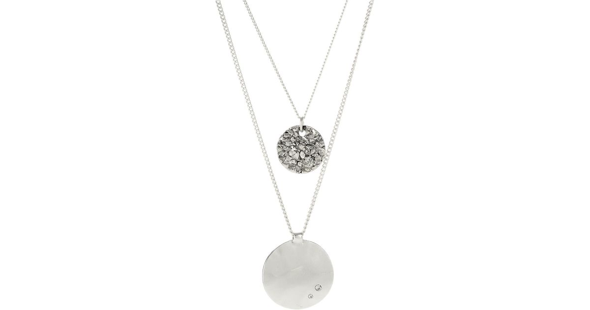 Kenneth Cole Textured Circle And Round Disc Duo Pendant