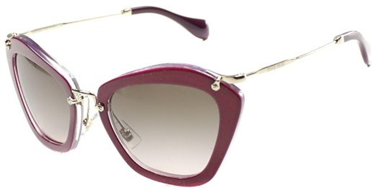 1ef99671ecb1 Lyst - Miu Miu Noir Mu 10ns Dhh1e2 Cyclamen Glitter Transparent And Gold  Plastic Sunglasses Pink Gradient Lens in Purple