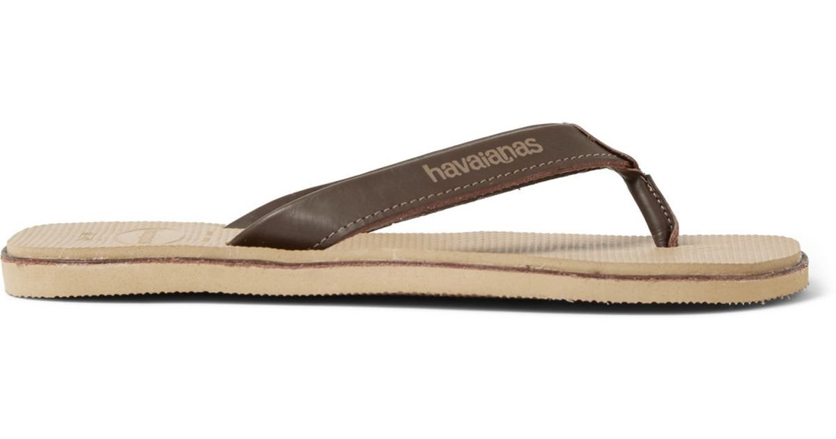 4ef154f6416fc Lyst - Havaianas Urban Premium Leather And Rubber Flip Flops in Brown for  Men