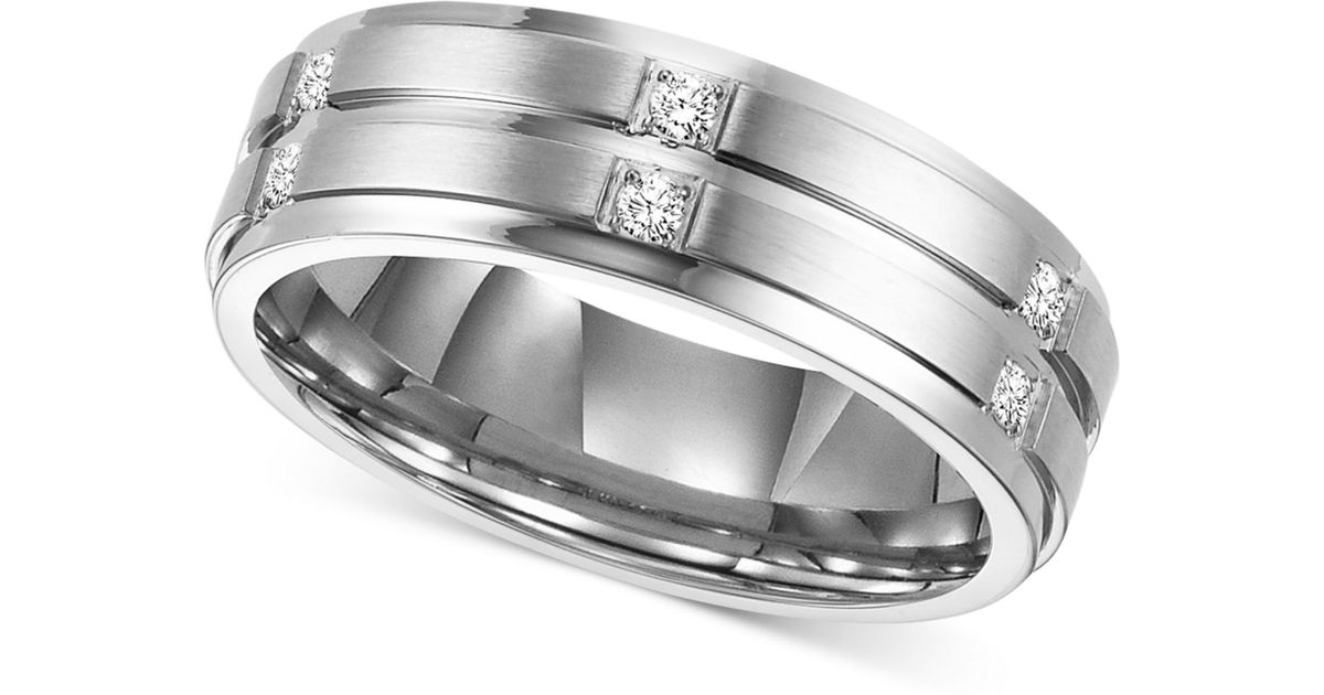 Triton Mens Diamond Wedding Band Ring In Stainless Steel 1 6 Ct Tw In Metallic For Men