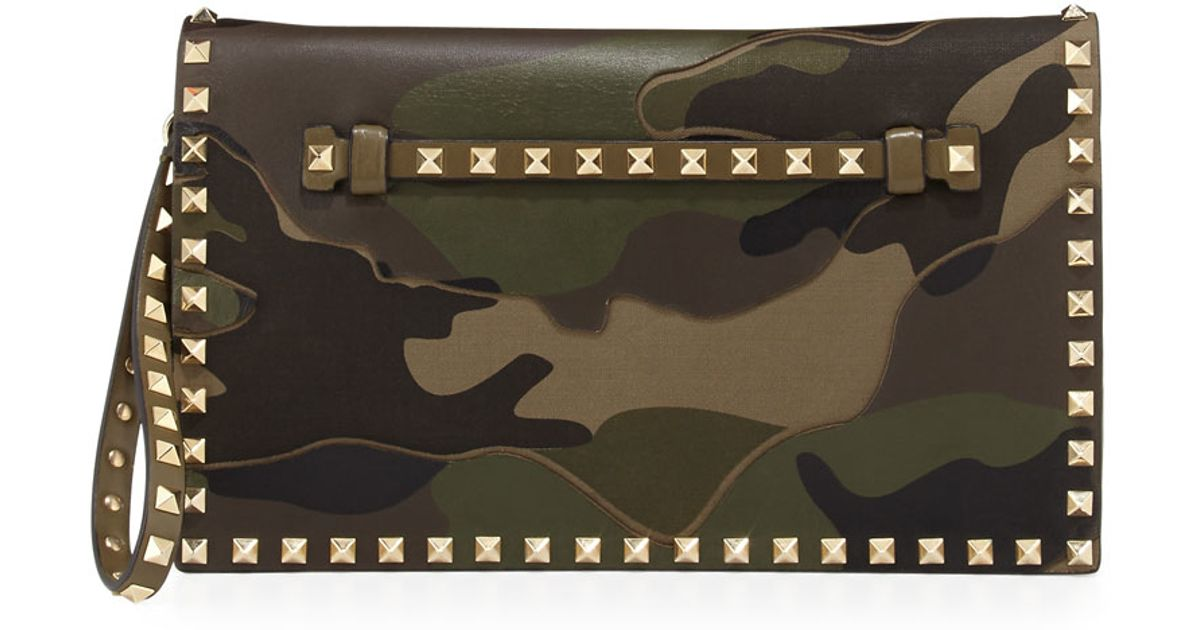 Valentino Rockstud Camouflage Wristlet Clutch Bag In Army