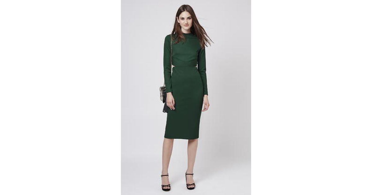 Lyst Topshop Long Sleeve Cut Out Midi Dress In Green