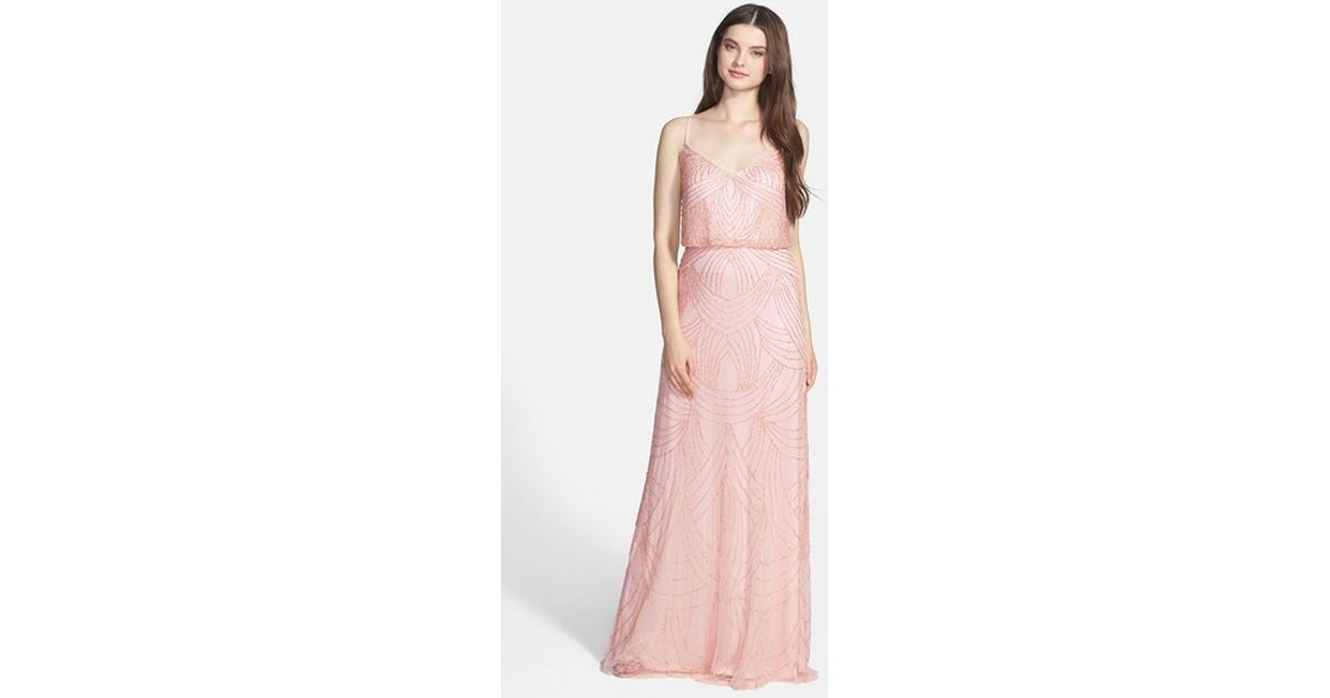 Lyst - Adrianna Papell Beaded Chiffon Gown in Pink