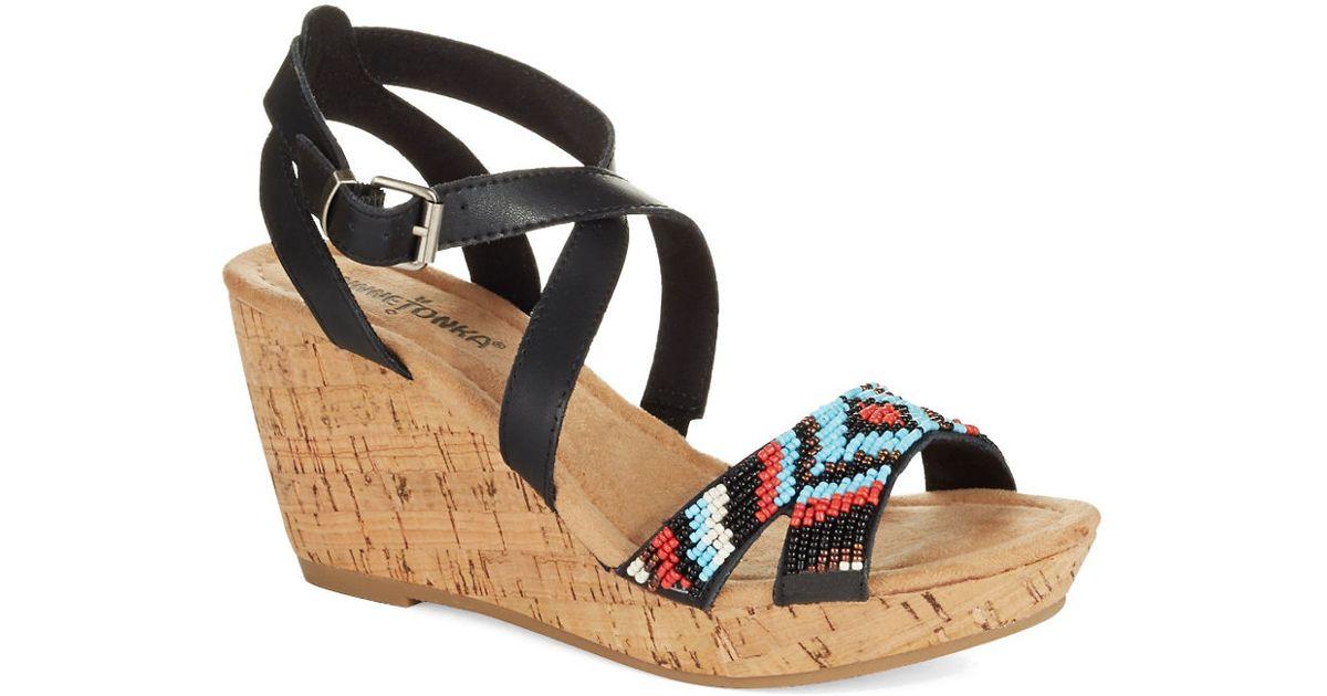 5374618255540 Minnetonka Black Leather Beaded Strappy Wedge Sandals