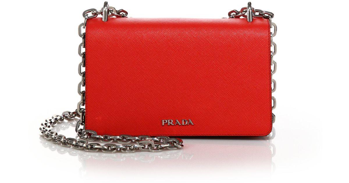 421c31dd944 ... low cost lyst prada tessuto saffiano bicolor chain bag in red 2f538  4506c
