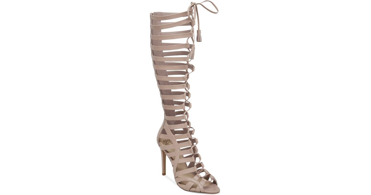 8fecc4a31437 Lyst - Vince Camuto Olivian Tall Lace-Up Gladiator Sandals in Natural