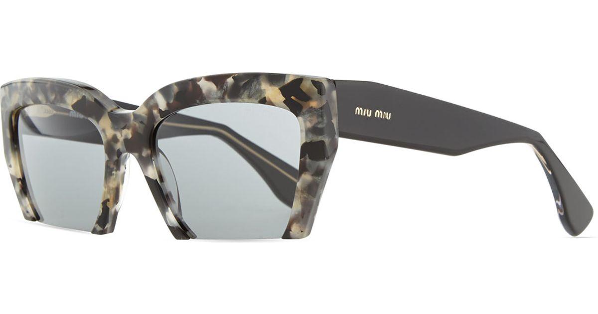 8407edaa11b5 Miu Miu Cutoff Square Sunglasses in Gray - Lyst
