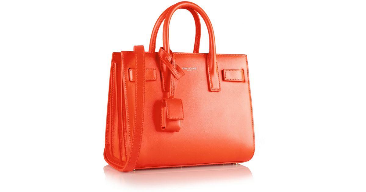 dbdeadc166de Lyst - Saint Laurent Sac De Jour Nano Baby Mini Leather Tote in Orange