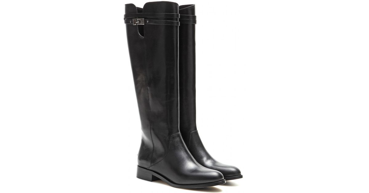 5e72b43a2c Jimmy Choo Hyson Leather Knee-High Boots in Black - Lyst