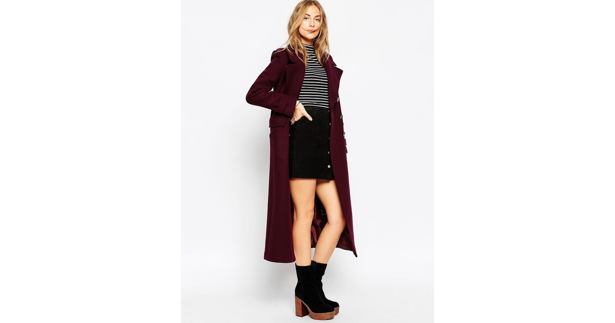 ASOS Purple Maxi Military Coat With Contrast Buttons