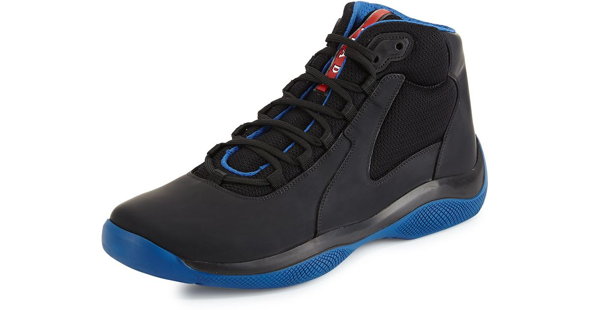 09d0e9063e52b ... promo code for lyst prada punta ala mesh leather high top sneaker in  black de3cb 4a363