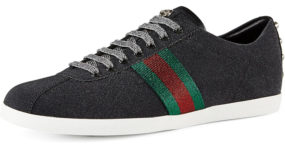 e4041bd99 Gucci Bambi Web Low-top Sneaker With Stud Detail in Black for Men - Lyst