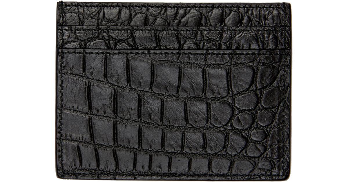 e5c768308c91 Lyst - Saint Laurent Black Croc-embossed Cardholder in Black for Men