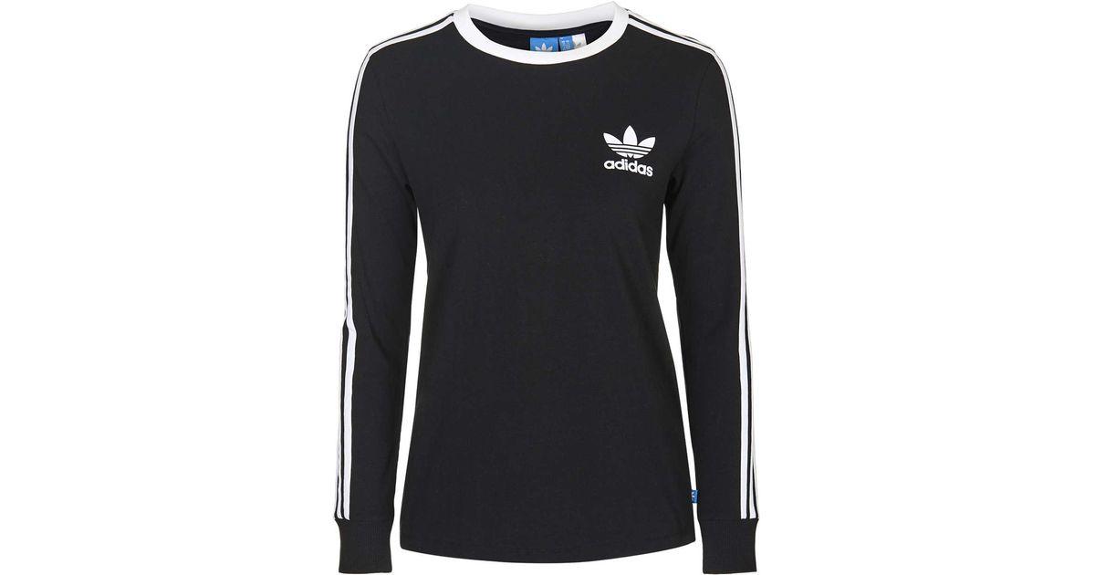 5ab7c272 TOPSHOP Three Stripe Long Sleeve Top Adidas Originals in Black - Lyst