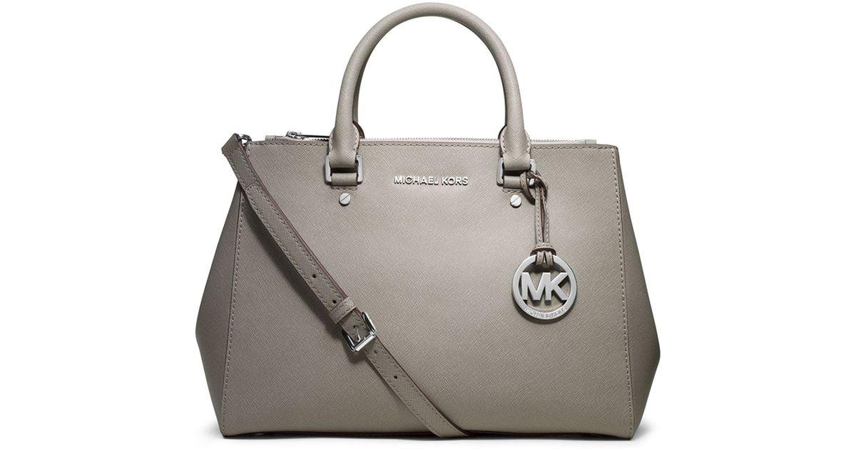 8d3a33ceb07 MICHAEL Michael Kors Sutton Medium Satchel Bag in Gray - Lyst
