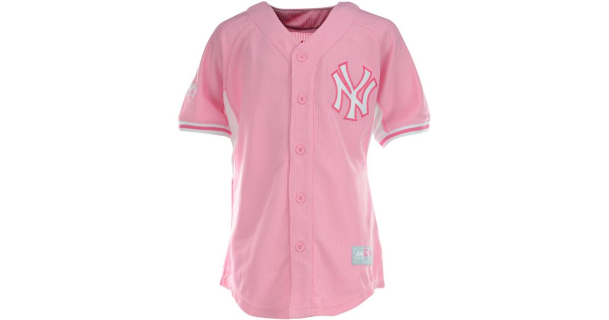 Lyst - Majestic Girls New York Yankees Jersey in Pink fa2d4d0ffe5