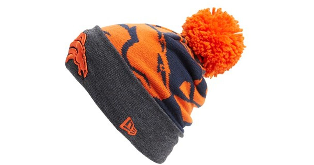 67c51bc9ebf Lyst - Ktz  logo Whiz - Denver Broncos  Pompom Knit Beanie in Orange for Men