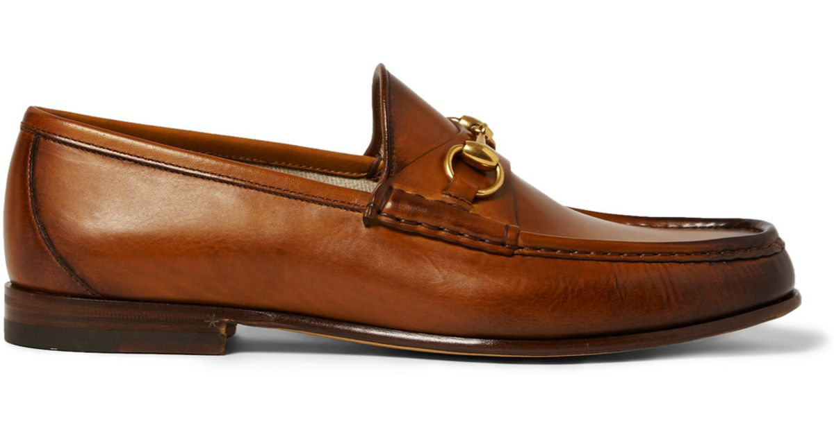 Roos Horsebit Burnished-leather Loafers Gucci 51wTWOyy