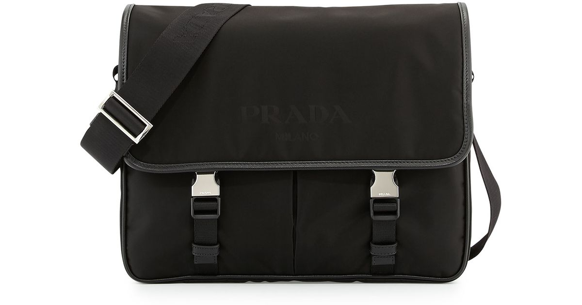 983ed705f378d2 Prada Men's Large Nylon Messenger Bag in Black for Men - Lyst