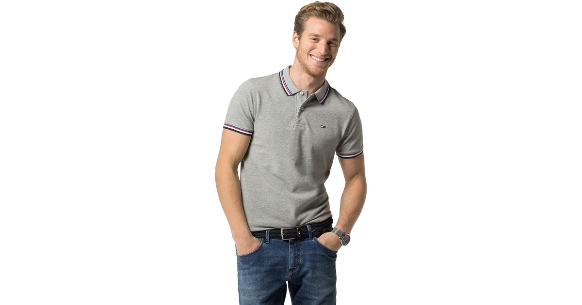 tommy hilfiger slim fit tipped polo in gray for men cloud. Black Bedroom Furniture Sets. Home Design Ideas
