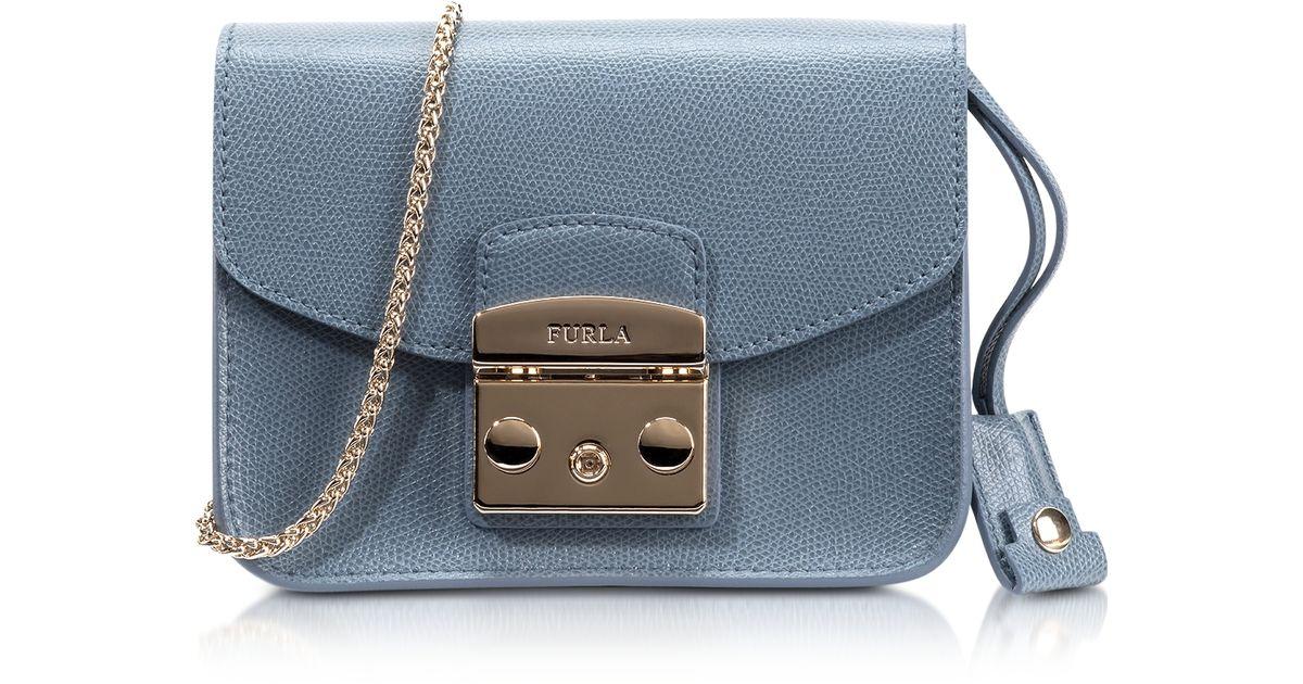 Lyst - Furla Metropolis Dolomia Leather Mini Crossbody Bag in Blue 5d33803a7e964