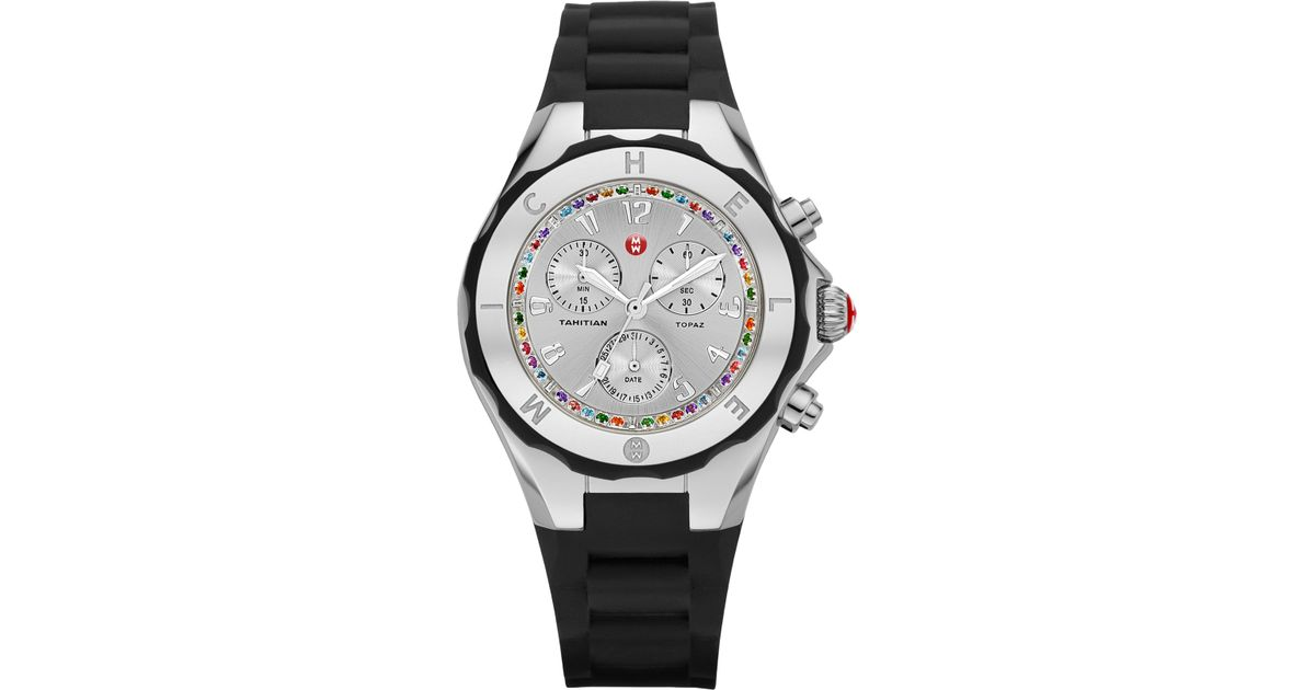 20c33d1bb Lyst - Michele Tahitian Jelly Bean Topaz Silicone Chronograph Watchblack in  Black