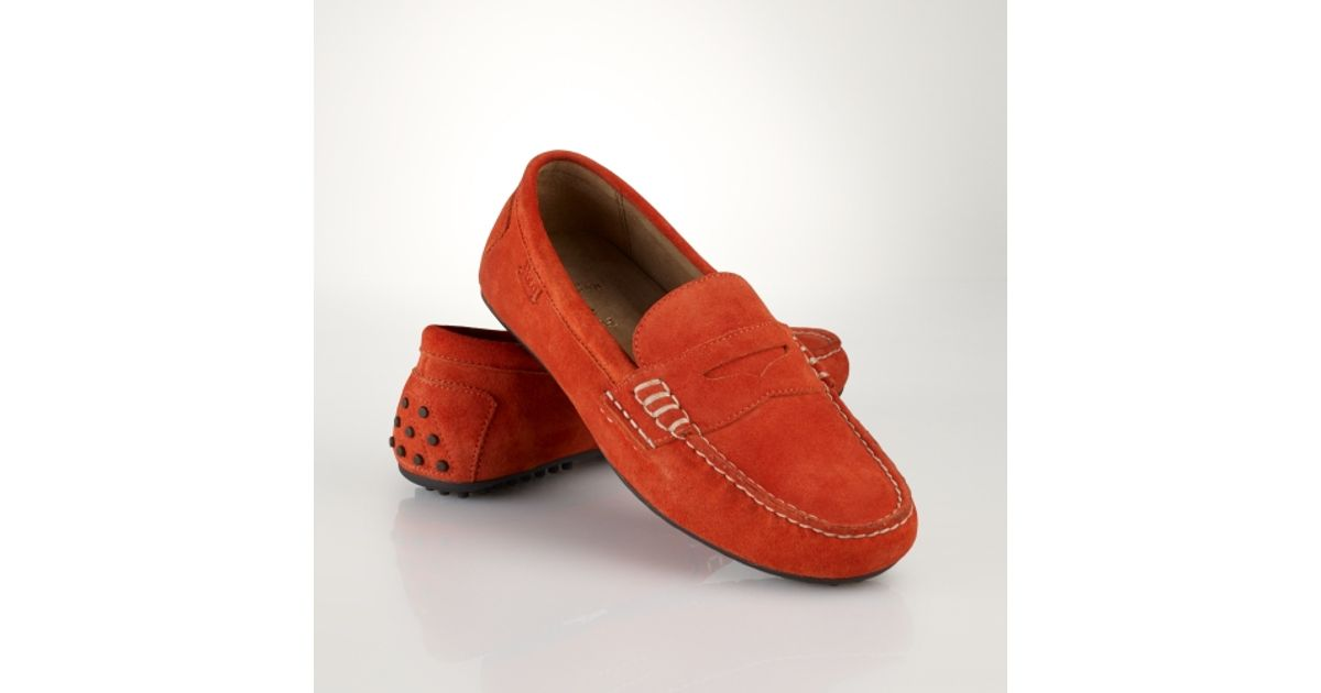 48b7ab7e2e1 Lyst - Polo Ralph Lauren Suede Wes Penny Loafer in Orange for Men