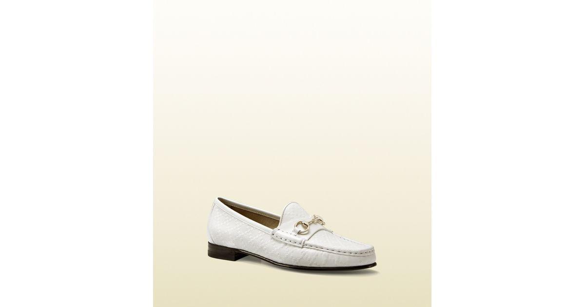 adbab577640 Lyst - Gucci 1953 Horsebit Loafer In Diamante Leather in White for Men