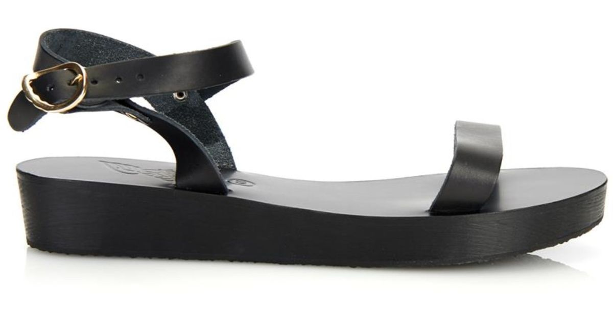 9e0b093a90 Drama Leather Greek In Black Ancient Sandals Lyst Platform nNwmv80
