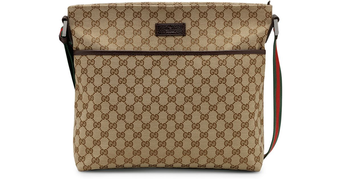 43e9d525f48 Lyst - Gucci Original Gg Pocketed Canvas Messenger Bag with Signature Web  Strap in Brown