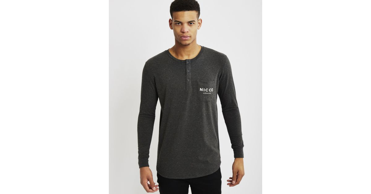 Nicce london boucle henley pocket long sleeve t shirt for Black long sleeve henley shirt