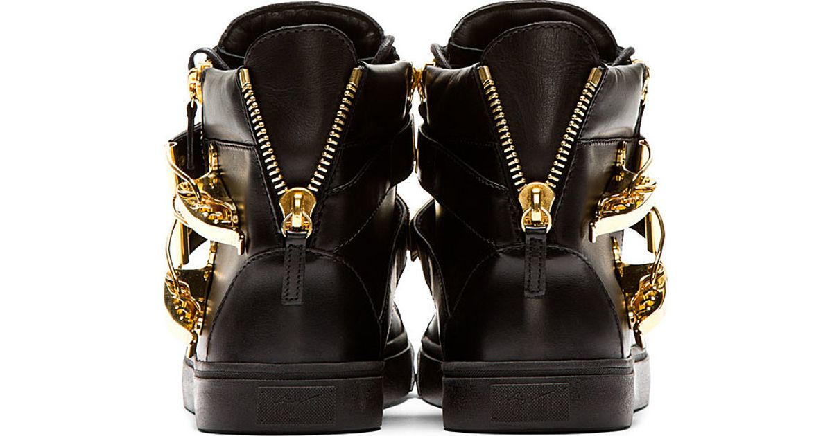 Giuseppe Zanotti Black And Gold Double Buckle London