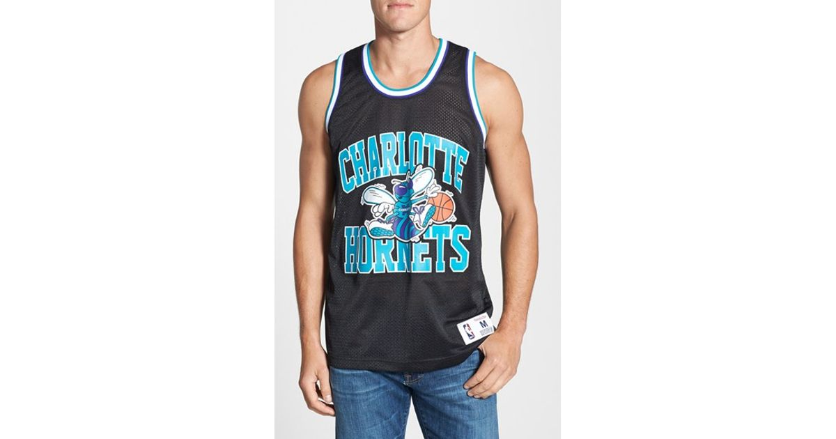 81787b0db7952b Lyst - Mitchell   Ness  charlotte Hornets  Mesh Tank Top Jersey in Black  for Men