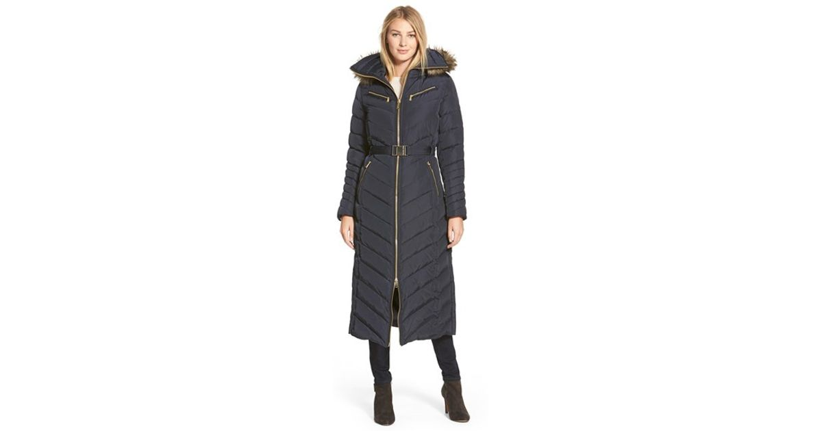 2b3829550 MICHAEL Michael Kors Blue Belted Long Quilted Down & Feather Fill Coat With  Faux Fur Trim Hood