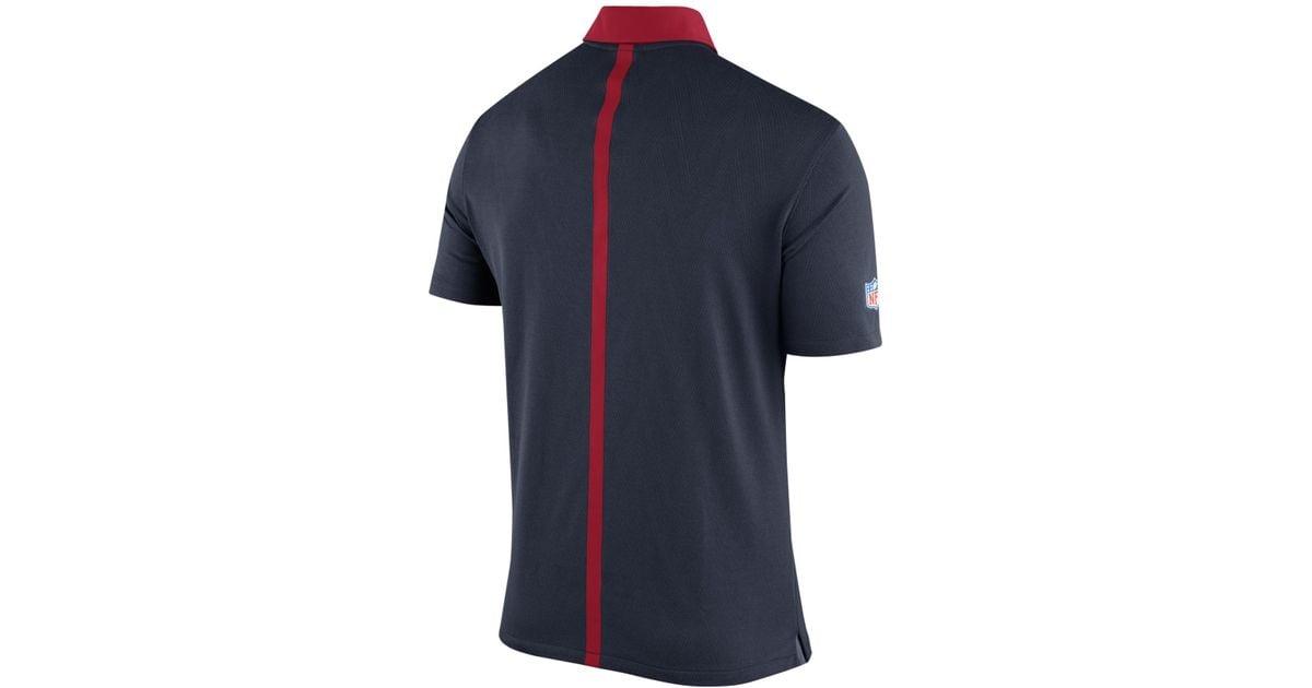 Nike men 39 s houston texans elite coaches polo in blue for for Houston texans polo shirt
