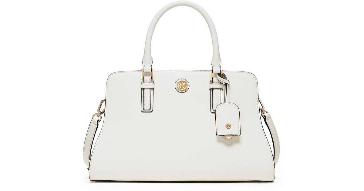 b0a3f619a78 Lyst - Tory Burch Robinson Color-Block Curved Satchel in Blue