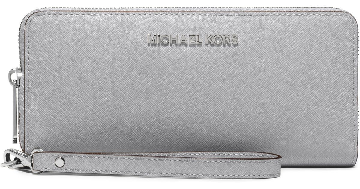 73a1a7f42346 ... coupon lyst michael michael kors jet set travel leather wallet in gray  aea2d a8f93