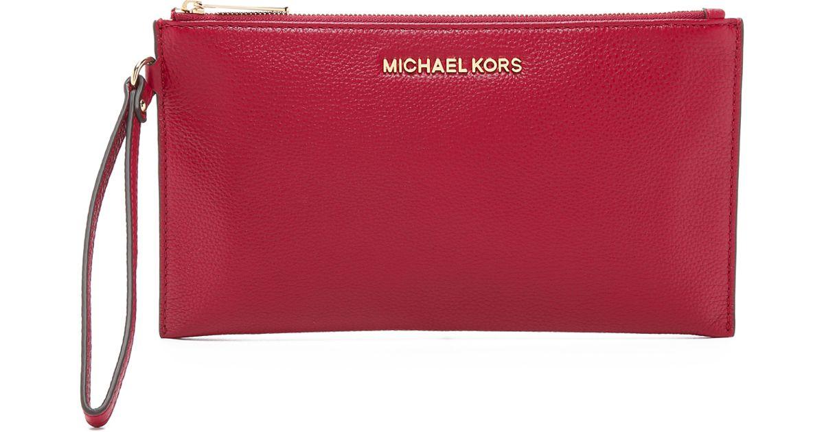 c65fbd97658b MICHAEL Michael Kors Bedford Large Zip Clutch in Red - Lyst