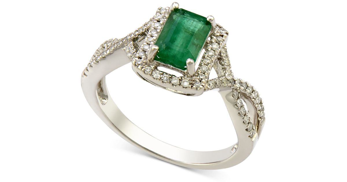 Macy s Emerald 1 Ct T w And Diamond 1 4 Ct T w Twist Ring In 14k